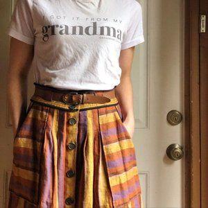 Sea New York Linen Striped Midi Button Skirt